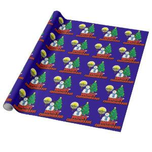 Blue Merry Chrismukkah with Snowman & Menorah Wrapping Paper