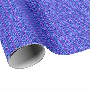 Blue Metal Purple Stripes Wrapping Paper