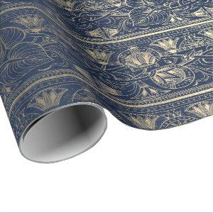 Blue Navy Gold Papyrus Antique Egyptian Floral