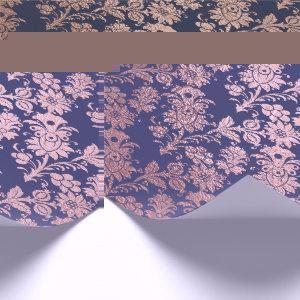 Blue Navy Pink Rose Gold Powder Faux Blush Floral Wrapping Paper