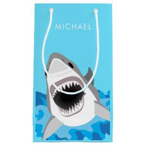 Blue Ocean Shark Attack Birthday Wrapping Small Gift Bag