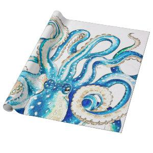 Blue Octopus Comic Style Wrapping Paper