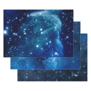 Blue Ombre Sparkly Stars Celestial Mix Wrapping Paper Sheets