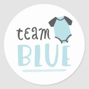 Blue or Pink Baby Gender Reveal | Team Blue Classic Round Sticker