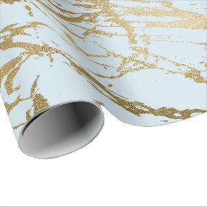 Blue Pastel Celestial Gold Marble Shiny Glam Wrapping Paper