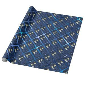 Blue Police Public Call Box - UK Time Travel 1 Wrapping Paper