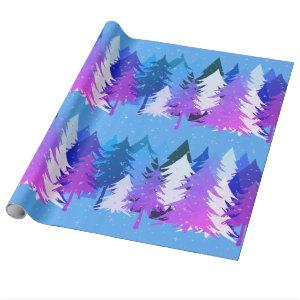 Blue Purple Christmas Trees Stars Snow Light Blue Wrapping Paper
