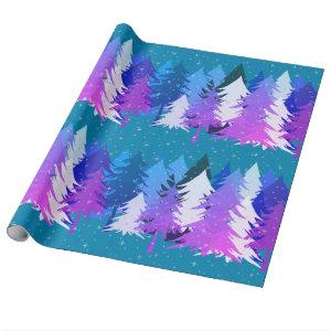 Blue Purple Christmas Trees Stars Snow Teal Blue Wrapping Paper