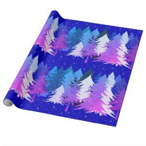 Blue Purple White Christmas Trees Stars Snow Blue Wrapping Paper