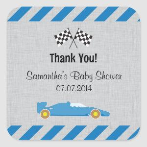 Blue Race Car Baby Shower Thank You Stickers