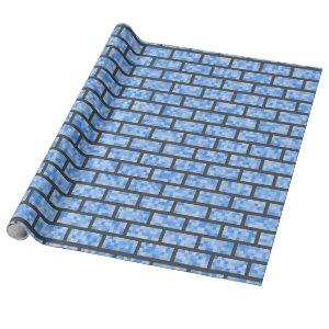 Blue Retro 8-Bit Graphics Style Bricks Wrapping Paper