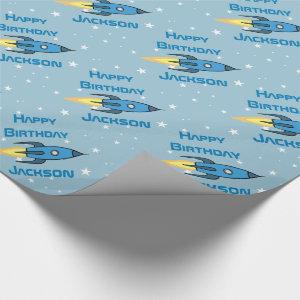 Blue Retro Rocket Ship Personalized Birthday Boy Wrapping Paper