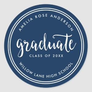 Blue Script and White Stripes Graduate Graduation Classic Round Sticker