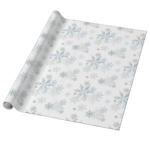 Blue Silver Gray Snowflake Wonderland Wrapping Paper