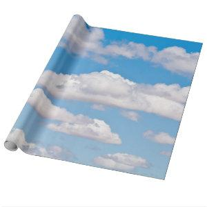 Blue sky clouds wrapping paper