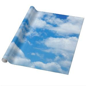 Blue Sky White Clouds Heavenly Skies Background Wrapping Paper
