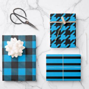 Blue Striped Houndstooth Buffalo Plaid Wrapping Paper Sheets