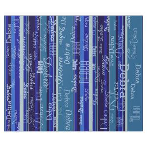 blue stripes with names wrapping paper