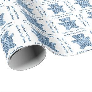 Blue Teddy Bear Wrapping Paper