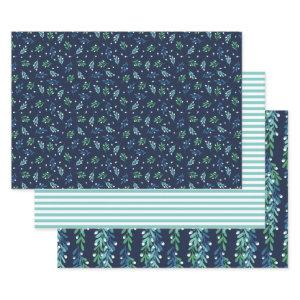 Blue Twigs & White Berries Christmas Patterns Wrapping Paper Sheets