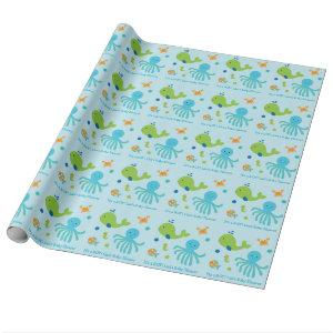 Blue Under The Sea Baby Shower Wrapping Paper