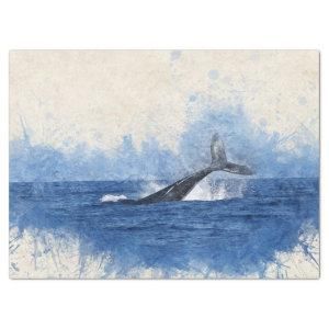 Blue Watercolor Whale Decoupage Tissue Paper