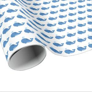 Blue Whales Baby Shower Wrapping Paper