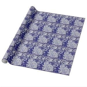 Blue & White Rabbit Tile Design Wrapping Paper