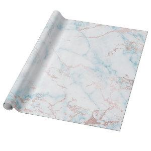 Blue White Rose Gold Pink Marble Stone Brushes Wrapping Paper