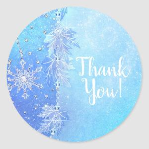Blue Winter Leaves & Snowflakes Elegant Favor Classic Round Sticker
