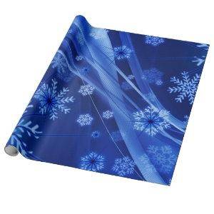 Blue Winter Snowflakes Christmas Wrapping Paper