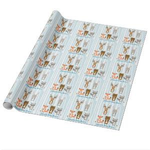Blue Woodland Animal Baby Shower Wrapping Paper
