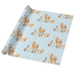 Blue Woodland Animals Baby Shower 1st Birthday Wrapping Paper