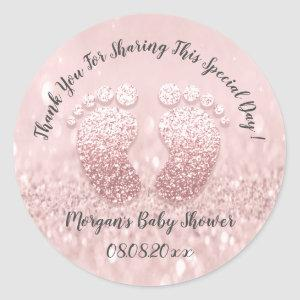 Blush Glitter Feet Baby Shower Favor Thank You Classic Round Sticker