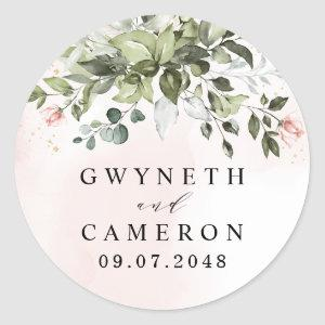 Blush Gold Greenery Succulent Dusty Blue Wedding Classic Round Sticker