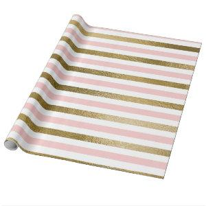 Blush Pink and Gold Foil Stripe Birthday Party Wrapping Paper