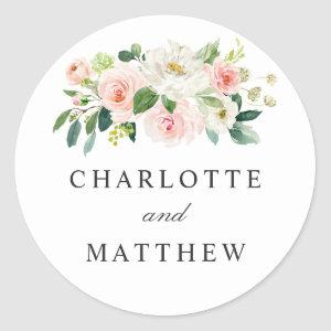 Blush Pink Floral Bride and Groom Names Classic Round Sticker