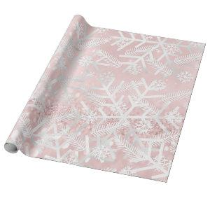 Blush Pink Glitter Christmas Holiday Snowflake Joy Wrapping Paper
