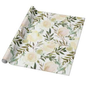 Blush Pink Ivory Beige Watercolor Floral Flowers Wrapping Paper