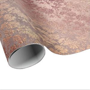 Blush Pink Rose Gold Floral Powder Faux Floral Wrapping Paper