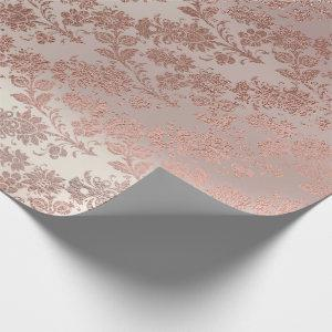 Blush Pink Rose Gold Floral Powder Floral Glam Wrapping Paper