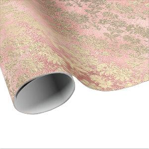 Blush Pink Rose Gold Floral Powder Glass Luxury Wrapping Paper