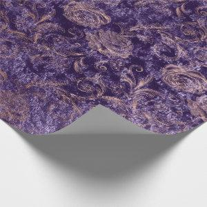 Blush Pink Rose Gold Floral Violet Purple Velvet Wrapping Paper