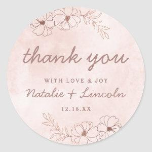 Blush Pink & Rose Gold Foil Wedding Thank You Classic Round Sticker