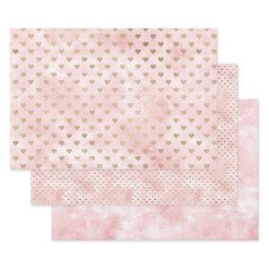 Blush Pink Watercolor Gold Hearts Wrapping Paper Sheets