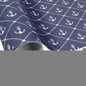 Boat Lover Nautical Anchor Rope Coastal Pattern Wrapping Paper
