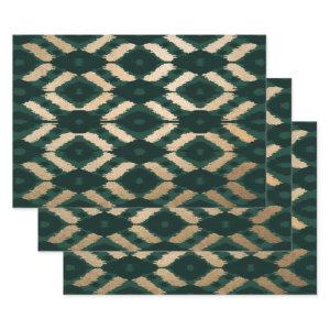 Bohemian Gold Forest Green Ikat Pattern Wrapping Paper Sheets