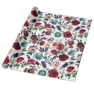 Boho Chic Burgundy and Navy Autumn Fall Wedding Wrapping Paper