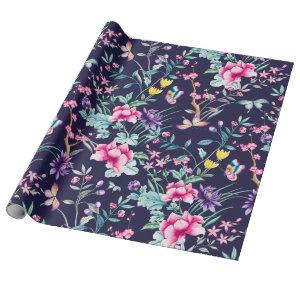 Boho Chic Floral & Butterflies Navy Wrapping Paper
