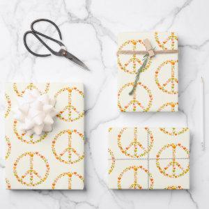 Boho Hippie Floral Peace Sign Pattern in Yellow  Sheets